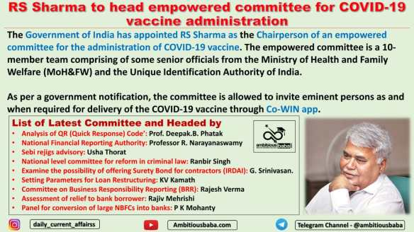 RS Sharma to head empowered committee for COVID-19 vaccine administration