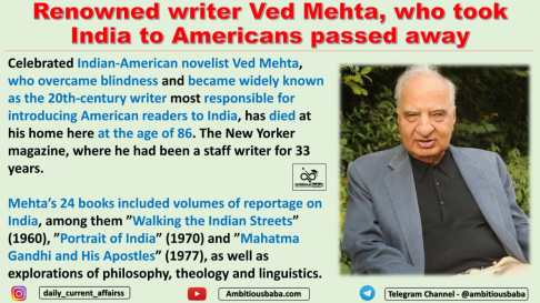 Renowned writer Ved Mehta, who took India to Americans passed away