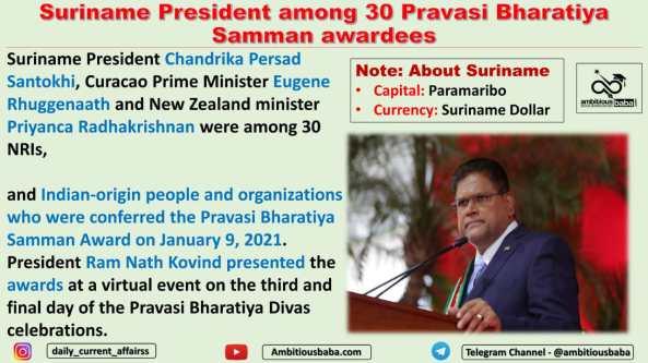 Suriname President among 30 Pravasi Bharatiya Samman awardees