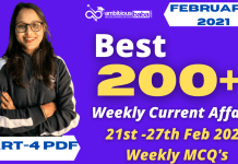 Weekly MCQ Current Affairs PDF : 21st to 27th Feb 2021