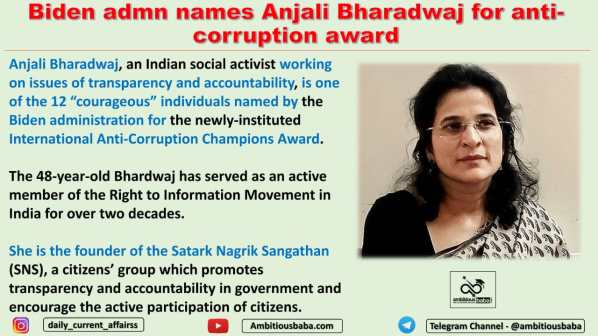 Biden admn names Anjali Bharadwaj for anti-corruption award