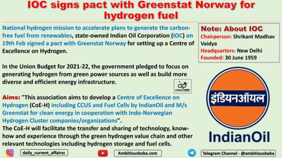IOC signs pact with Greenstat Norway for hydrogen fuel