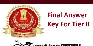 Combined Graduate Level Examination, 2019 - released the Final Answer Key For Tier II examination :