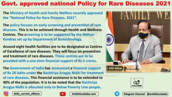 Govt. approved national Policy for Rare Diseases 2021