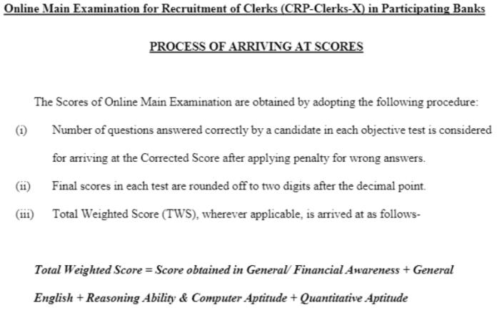 IBPS Clerk Score Arriving process