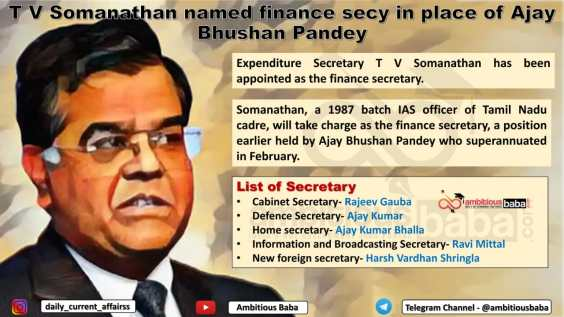 T V Somanathan named finance secy in place of Ajay Bhushan Pandey
