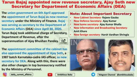 Tarun Bajaj appointed new revenue secretary, Ajay Seth new Secretary for Department of Economic Affairs (DEA)