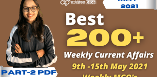 Weekly MCQ Current Affairs PDF : 9th to 15th May 2021