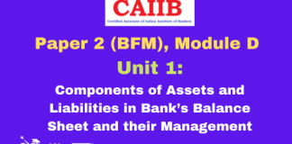 Components of Assets and Liabilities in Bank's Balance Sheet and their Management: CAIIB