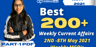 Weekly MCQ Current Affairs PDF : 2nd to 8th May 2021