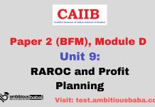 RAROC and Profit Planning: CAIIB