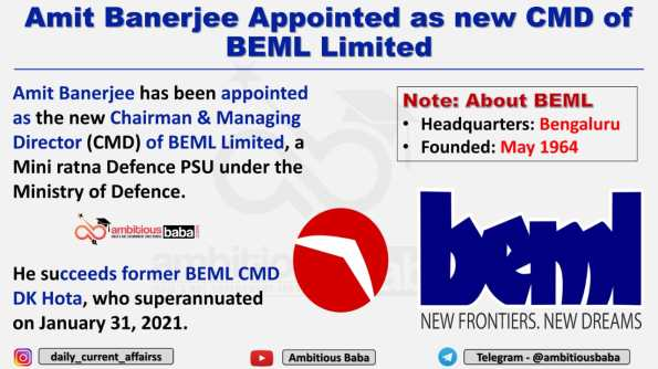 Amit Banerjee Appointed as new CMD of BEML Limited