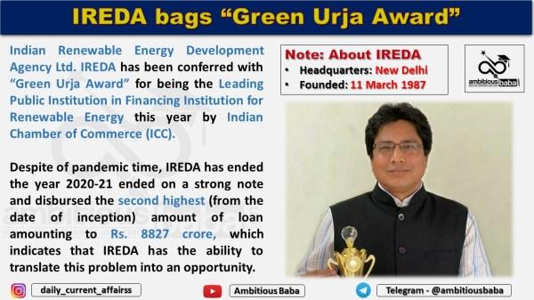 "IREDA bags ""Green Urja Award"""