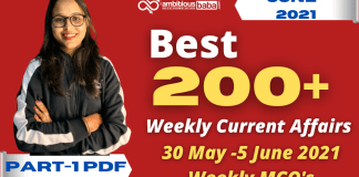 Weekly MCQ Current Affairs PDF : 30 May to 5 June 2021