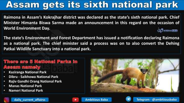 Assam gets its sixth national park
