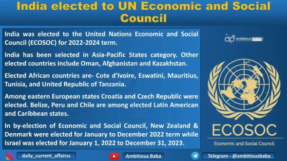ndia elected to UN Economic and Social Council