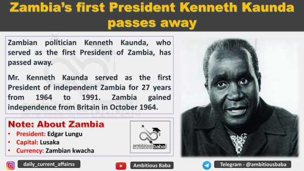 Zambia's first President Kenneth Kaunda passes away