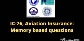 IC-76, Aviation Insurance: Memory based questions