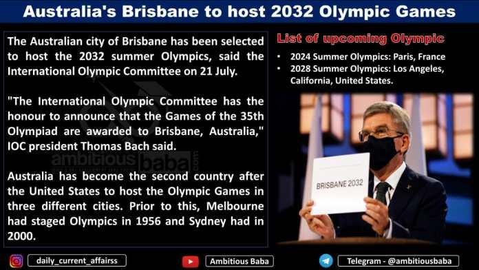 Australia's Brisbane to host 2032 Olympic Games