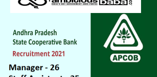 APCOB Recruitment 2021 : 61 Post for Manager (Scale I), Staff Assistant