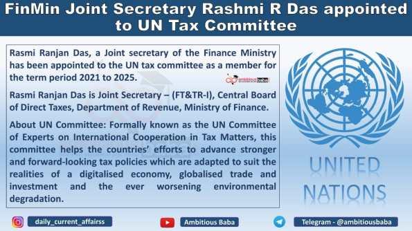 FinMin Joint Secretary Rashmi R Das appointed to UN Tax Committee
