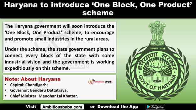 Haryana to introduce 'One Block, One Product' scheme