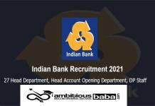 Ind Bank Recruitment 2021 : 27 Post for Head, Field Staff, DP Staff, Branch Head