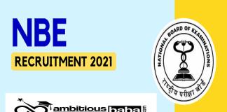 NBE Recruitment 2021 : 42 Post for Jr. Assistant, Sr. Assistant and Jr. Accountant