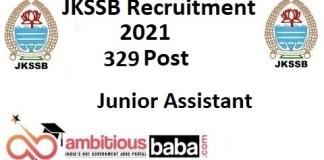 JKSSB Recruitment 2021 : 329 Post for Junior Assistant