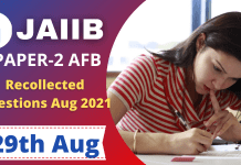 Accounting & Finance for Bankers Recollected Questions : JAIIB Exams, 29th August 2021