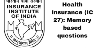 Health Insurance (IC 27): Memory based questions