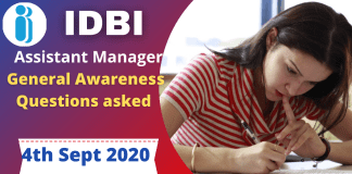 General Awareness Questions asked in IDBI Assistant manager exam : 4th September 2021