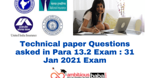 Technical paper Questions asked in Para 13.2 Exam : 31 Jan 2021 Exam