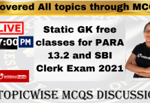 Static GK free classes for PARA 13.2 and SBI Clerk Exam 2021