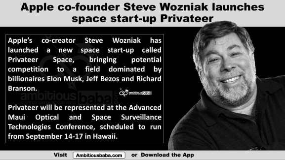 Apple co-founder Steve Wozniak launches space start-up Privateer