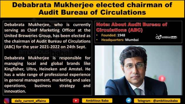 Debabrata Mukherjee elected chairman of Audit Bureau of Circulations