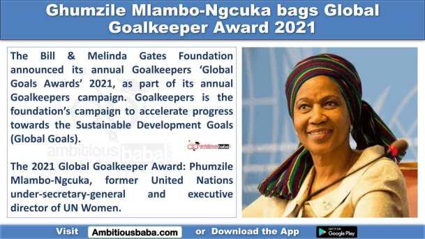 Ghumzile Mlambo-Ngcuka bags Global Goalkeeper Award 2021
