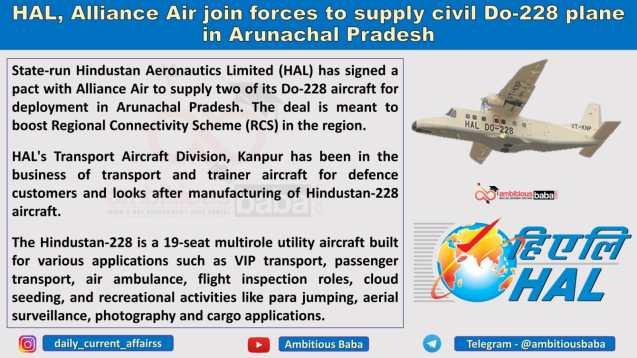 HAL, Alliance Air join forces to supply civil Do-228 plane in Arunachal Pradesh