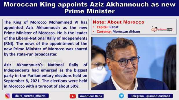 Moroccan King appoints Aziz Akhannouch as new Prime Minister