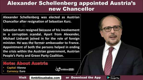 Alexander Schellenberg appointed Austria's new Chancellor