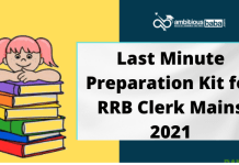 Last Minute Preparation Kit for RRB Clerk Mains 2021