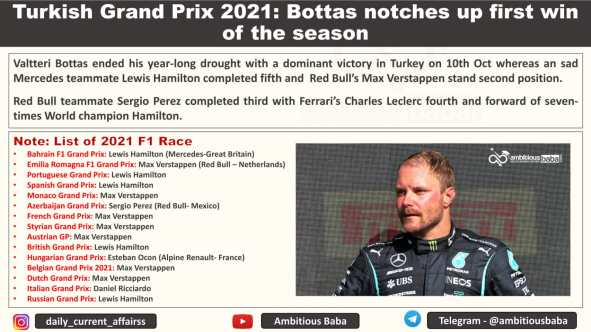 Turkish Grand Prix 2021: Bottas notches up first win of the season