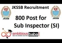 JKSSB Recruitment 2021 : 800 Post for Sub Inspector (SI)