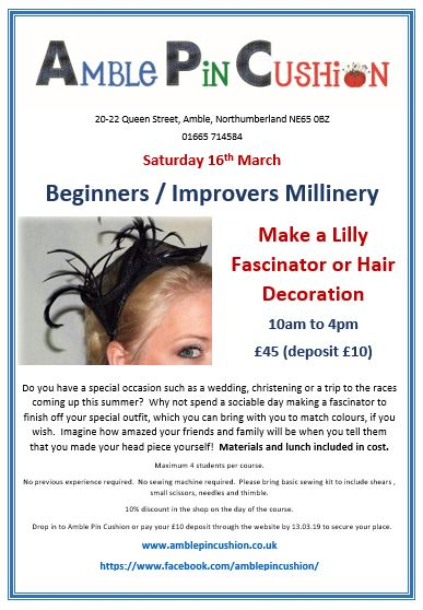 Jpeg lillies fascinator workshop March 19