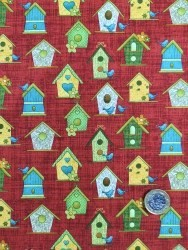 Birdhouses on Red from the Garden days collection by cheryl haynes for Bernartex FNOV036
