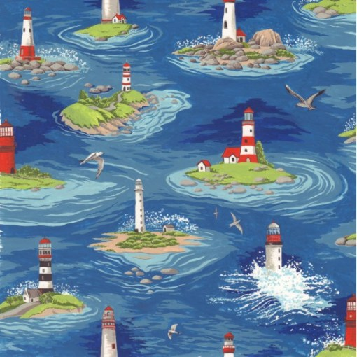 Lighthouses By the Sea Coastal fabric from Nutex FCST039