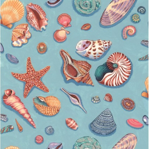 Seashells on Blue By the Sea coastal fabric by Nutex FCST041