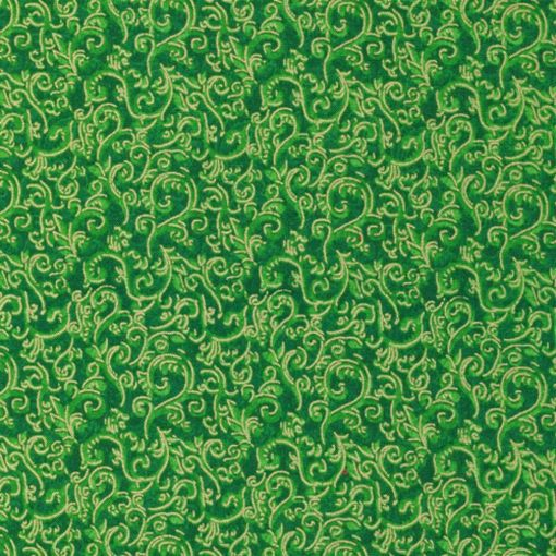 Seasons Greeting Gold Guilded Swirls on Green by Fabri-Quilt