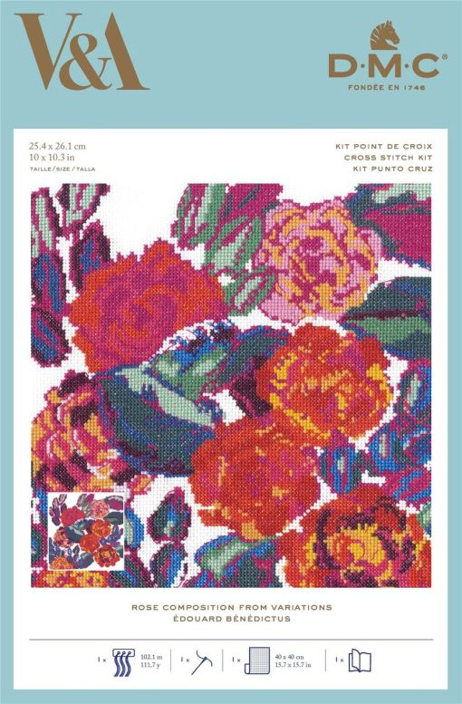 Art Deco Flowers – Rose Composition from Variations Counted Cross Stitch by V&A DMC