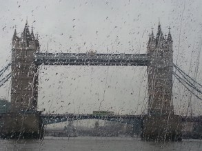 Tower Bridge from the boat, pouring rain!